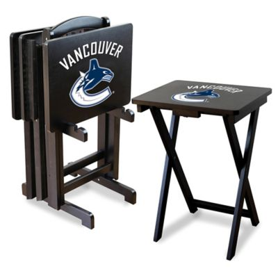 NHL Vancouver Canucks TV Tray Table Set with Storage Rack (Set of 4)  sc 1 st  Bed Bath \u0026 Beyond & Buy Snack Tray Table Sets from Bed Bath \u0026 Beyond