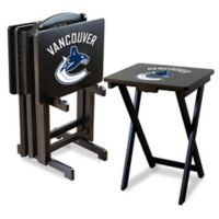 NHL Vancouver Canucks TV Tray Table Set with Storage Rack (Set of 4)