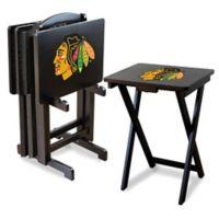 NHL Chicago Blackhawks TV Tray Table Set with Storage Rack (Set of 4)