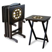 NHL Boston Bruins TV Tray Table Set with Storage Rack (Set of 4)