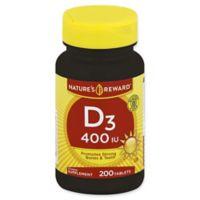 Nature's Reward 200-Count 400 IU Vitamin D3 Tablets