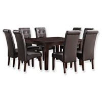 Simpli Home Cosmopolitan 9-Piece Dining Set in Tanners Brown Faux Leather
