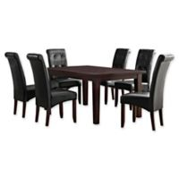 Simpli Home Cosmopolitan 7-Piece Dining Set in Midnight Black Faux Leather