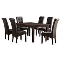 Simpli Home Cosmopolitan 7-Piece Dining Set in Tanners Brown Faux Leather