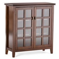 Simpli Home Artisan 38-Inch Storage Cabinet in Auburn Brown