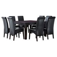 Simpli Home Avalon 9-Piece Dining Table Set in Black