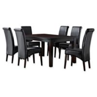 Simpli Home Avalon 7-Piece Dining Table Set in Black
