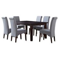 Simpli Home Avalon 7-Piece Dining Table Set in Grey