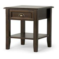 Simpli Home Burlington End Table in Espresso Brown