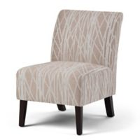 Simpli Home Woodford Accent Chair in Beige/White
