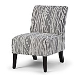 Simpli Home Woodford Accent Chair in Grey/White