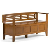 Simpli Home Adam 48-Inch Entryway Bench in Light Avalon Brown Stain
