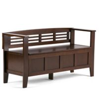 Simpli Home Adam 48-Inch Entryway Bench in Rustic Brown Stain
