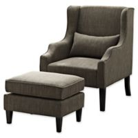 Simpli Home Ashbury Wingback Club Chair with Ottoman in Fawn Brown