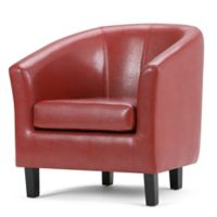 Simpli Home Austin Faux Leather Tub Chair in Red