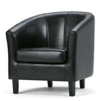 Simpli Home Austin Faux Leather Tub Chair in Black