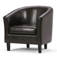Simpli Home Austin Faux Leather Tub Chair in Dark Brown