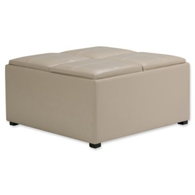 Simpli Home Avalon Faux Leather Coffee Table Storage Ottoman In Cream