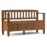 Simpli Home Brooklyn Entry Bench in Saddle Brown