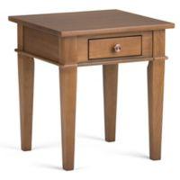 Simpli Home Carlton End Table in Saddle Brown