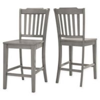 Verona Home Marigold Hill Slat Counter Chairs in Antique Grey (Set of 2)