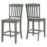 Verona Home Marigold Hill Slat Counter Chairs in Deep Aqua (Set of 2)