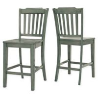 iNSPIRE Q® Marigold Hill Slat Counter Chairs in Deep Aqua (Set of 2)