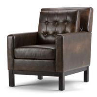 Simpli Home Carrigan Club Chair in Distressed Brown