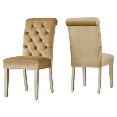 verona home radcliffe velvet tufted goldtone dining chairs in gold set of 2