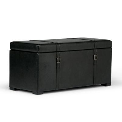 Simpli Home Dorchester 5 Piece Storage Ottoman In Midnight Black Faux  Leather
