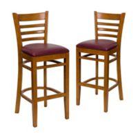 Flash Furniture Ladder Back Bar Stools in Burgundy Vinyl/Cherry Wood (Set of 2)