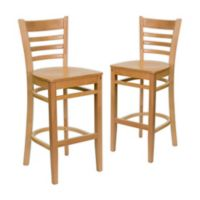 Flash Furniture Ladder Back Wood Bar Stools in Natural (Set of 2)