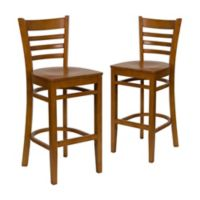 Flash Furniture Ladder Back Wood Bar Stools in Cherry (Set of 2)