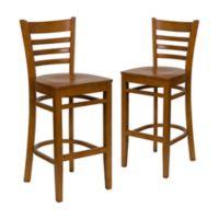Flash Furniture Ladder Back Wood Bar Stools in Cherry (Set of 2)