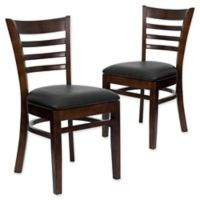 Flash Furniture Ladder Back Chairs in Black Vinyl/Walnut Wood (Set of 2)