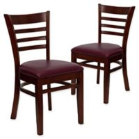 Flash Furniture Ladder Back Chairs in Burgundy Vinyl/Mahogany Wood (Set of 2)