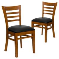 Flash Furniture Ladder Back Chairs in Black Vinyl/Cherry Wood (Set of 2)