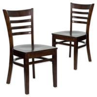 Flash Furniture Ladder Back Wood Chairs in Walnut (Set of 2)