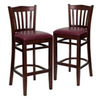 Flash Furniture Vertical Slat Back Stools with Burgundy Vinyl Seat in Mahogany Finish (Set of 2)