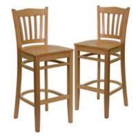 Flash Furniture Vertical Slat Back Stools with Natural Wood Finish (Set of 2)
