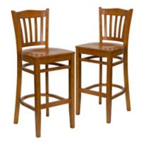Flash Furniture Vertical Slat Back Stools with Cherry Wood Finish (Set of 2)