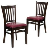 Flash Furniture Vertical Slat Back Chairs with Burgundy Vinyl Seats in Walnut Wood (Set of 2)