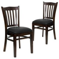 Flash Furniture Vertical Slat Back Chairs with Black Vinyl Seats in Walnut Wood (Set of 2)