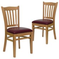 Flash Furniture Vertical Slat Back Chairs with Burgundy Vinyl Seats in Natural Wood (Set of 2)