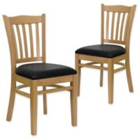Flash Furniture Vertical Slat Back Chairs with Black Vinyl Seats in Natural Wood (Set of 2)