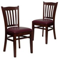 Flash Furniture Vertical Slat Back Chairs with Burgundy Vinyl Seats in Mahogany Wood (Set of 2)