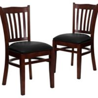 Flash Furniture Vertical Slat Back Chairs with Black Vinyl Seats in Mahogany Wood (Set of 2)