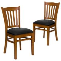 Flash Furniture Vertical Slat Back Chairs with Black Vinyl Seats in Cherry Wood (Set of 2)