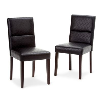 Simpli Home Ashford Faux Leather Dining Chairs In Black (Set Of 2)