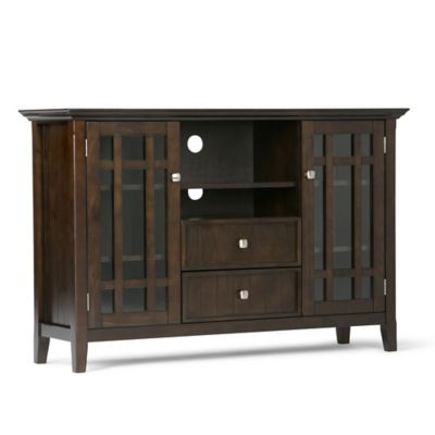 simpli home bedford tall tv stand in tobacco
